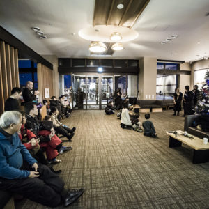 Watching on in the Ki Niseko lobby.