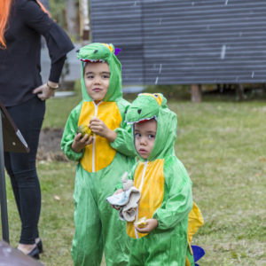 Kids As Dinosaurs At Halloween 2016