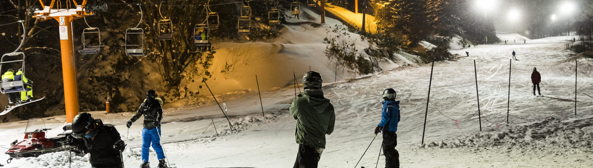 Night skiing in Niseko