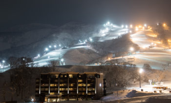 Ki Niseko illuminated at night