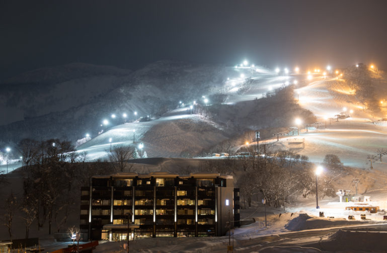 Ki Niseko illuminated at night