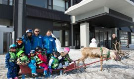 GoSnow Ninja Kids take a reindeer ride at Ki Niseko!