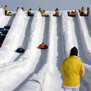 Fun snow slides at the Tsudome site.