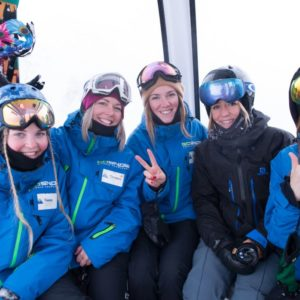 Jenny Jones & Yuka Fujimori with the women of GoSnow. Image: Glen Claydon Photography