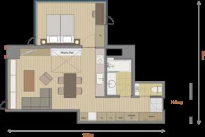 1 Bedroom Deluxe Floor Plan
